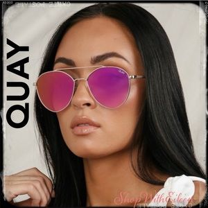 Quay DRAGONFLY Gold Pink Aviator Sunnies Sunglass